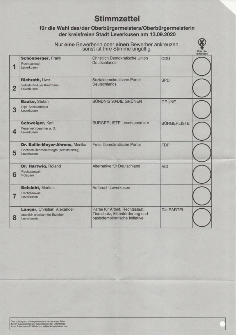 Stimmzettel Kommunalwahl